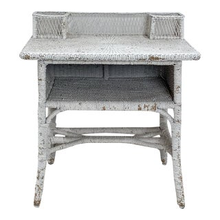 Victorian White Painted Wicker Desk, Circa 1880 For Sale