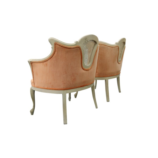 Peach Tufted Velvet Bergere Chairs- A Pair - Image 4 of 5