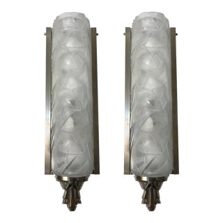 Stunning French Art Deco Wall Sconces Signed by Degue - A Pair For Sale