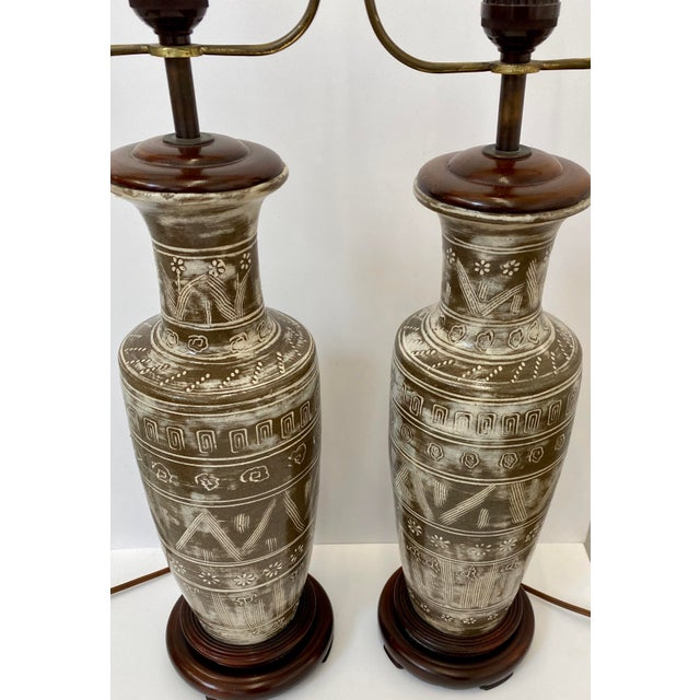 Abstract Vintage Ceramic Table Lamps - a Pair For Sale - Image 3 of 8
