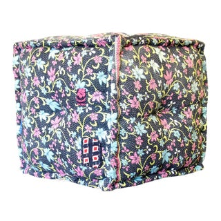 Floral Printed Bengal Kantha Cube For Sale