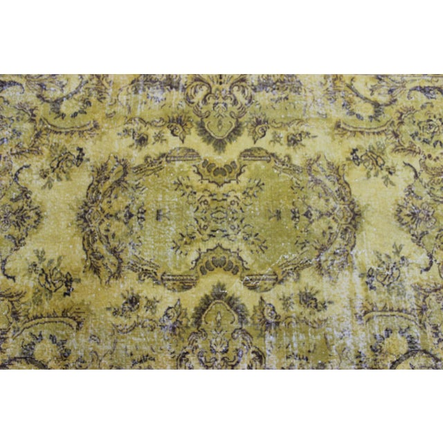 """Vintage Hand Woven Yellow OverDyed Rug - 5'7"""" x 9' For Sale - Image 4 of 7"""