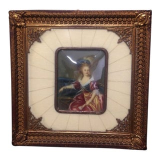 Early 20th Century Antique Miniature Woman Portrait Framed Painting For Sale