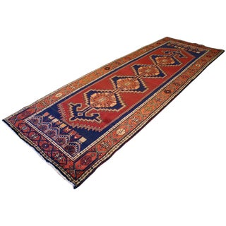 1980s Hand-Knotted Persian Tribal Runner Rug - 3′1″ × 10′1″ For Sale