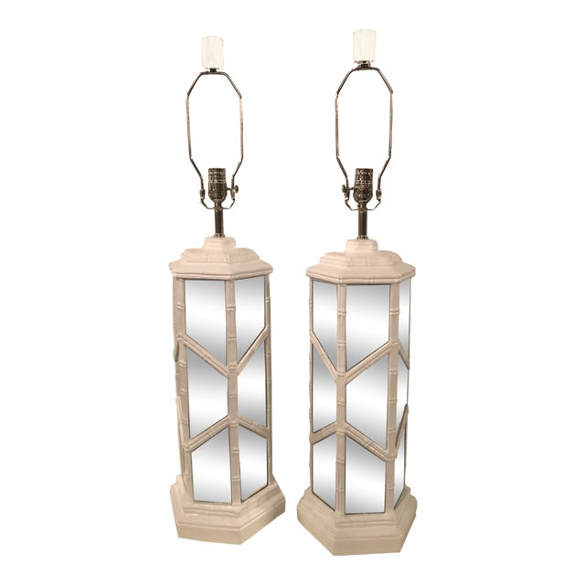 Vintage Chinese Chippendale Hollywood Regency White Lacquered Chrome Mirror Faux Bamboo Table Lamps - A Pair For Sale