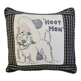 Charming Vintage Scottish Terrier Hand-Stitched Feather/Down Pillow
