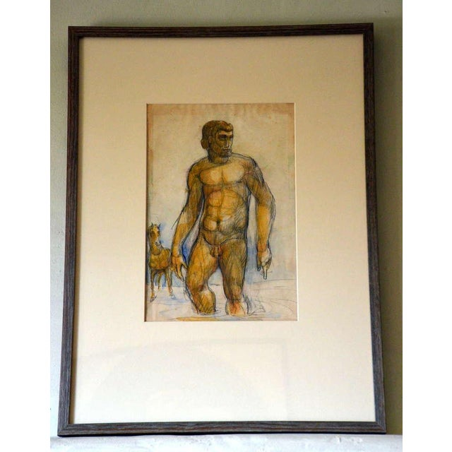 1940s French 1940's Gouache on Paper For Sale - Image 5 of 5