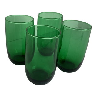 Vintage Anchor Hocking Small Forest Green Flat Roly Poly Drinking Glasses - Set of 4 For Sale
