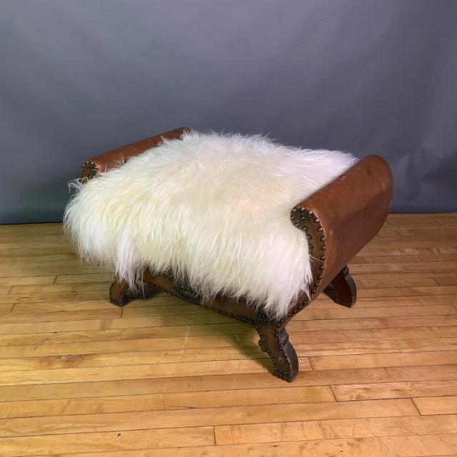 Baroque 1930s Otto Schulz Leather & Sheepskin Footstool, Boet, Sweden For Sale - Image 3 of 11