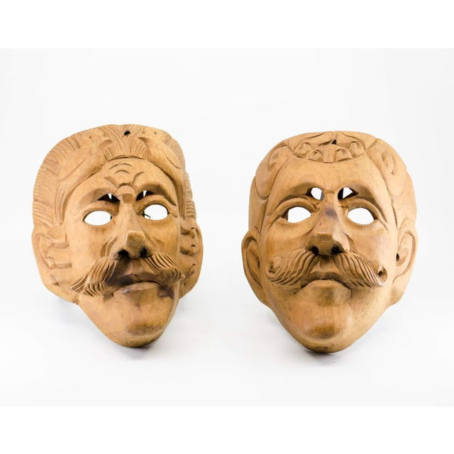 Italian Wood Carved Decorative Male Masks - a Pair For Sale - Image 13 of 13
