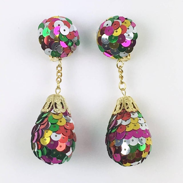 Modern Colorful Sequin Disco Balls Dangling Chandelier Clip on Earrings For Sale - Image 3 of 6