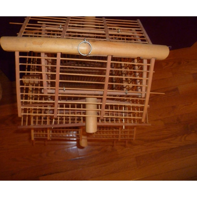 Brown 1970s Bamboo Wood Bird Cage For Sale - Image 8 of 8
