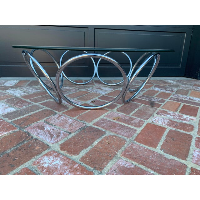 Contemporary 1970's Industrial Chrome and Glass Coffee Table For Sale - Image 3 of 6
