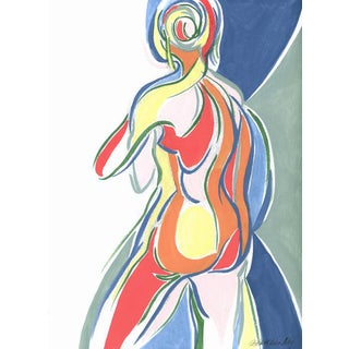 Abstract Moving Female Figure Sketch by Kathleen Ney For Sale