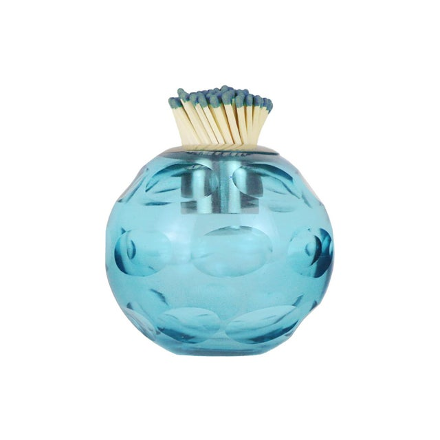 Traditional Glass Match Striker, Blue For Sale - Image 3 of 3