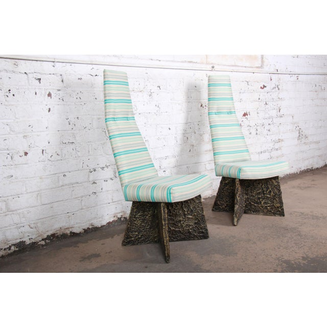 Brutalist Adrian Pearsall Mid-Century Brutalist High Back Side Chairs - a Pair For Sale - Image 3 of 9