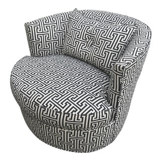 Mid-Century Modern Black & White Bernice Swivel Chair
