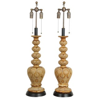 Mid-Century Umber Finish Lamps - a Pair For Sale