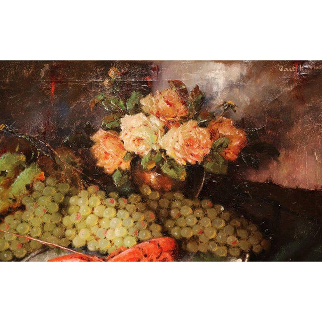 Carl Fischer (Artist) Important 20th Century Still Life Oil Painting With Lobster Signed Carl Fischer Circa 1920 For Sale In Dallas - Image 6 of 8