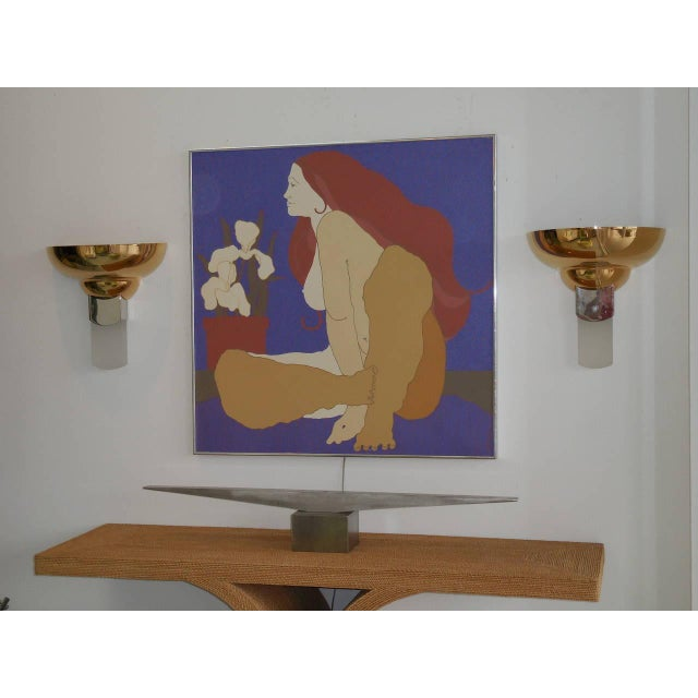 Hollywood Regency Large Italian Painting of Nude and Orchids, 1970s For Sale - Image 3 of 5