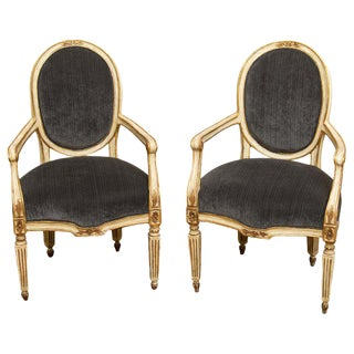 1910s Vintage Italian Neoclassical Armchairs- A Pair For Sale