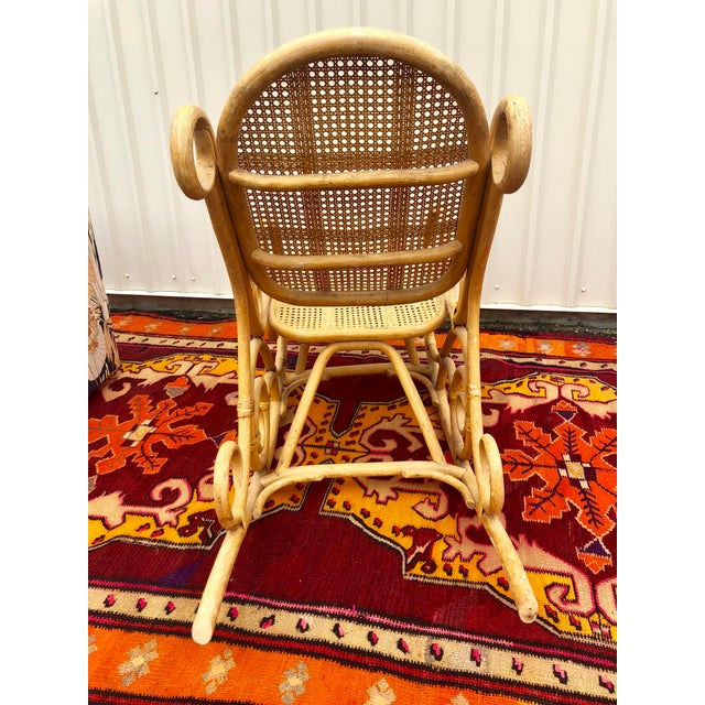 Vintage Mid Century Bamboo Rattan Spiral Rocking Chair For Sale In Charleston - Image 6 of 7