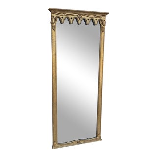 Vintage Hollywood Regency Italian Venetian Florentine Gilt Carved Wall Pier Console Mirror For Sale