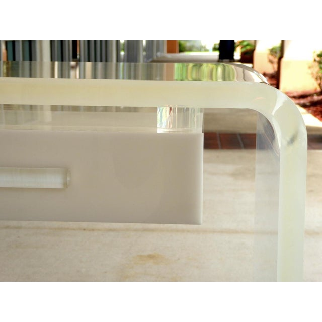 Mid-Century Modern Lucite Waterfall Desk or Vanity For Sale - Image 3 of 6