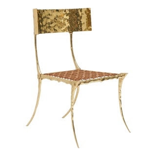 Aqua Brass Klismos Chair by Sylvan Sf For Sale