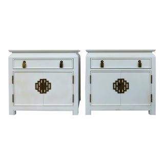 Century Furniture Co. Mid-Century Asian Modern Lacquered Nightstands- a Pair