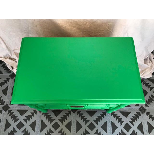 Vintage 1960's MCM Painted Green Painted Faux Bamboo Nightstand. Kemp Furniture Co. 15.5d x 24H x 26.25in W Has 2 drawers...