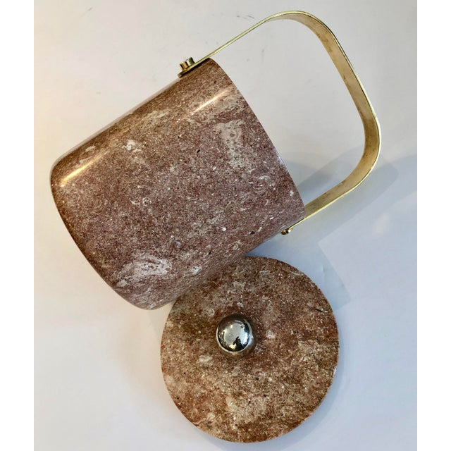 Brass Mid-Century Heavy Solid Marble & Brass Ice Bucket For Sale - Image 7 of 9