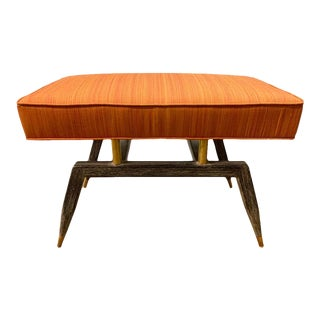 Mid-Century Modern Bench With Wood Base and Brass Supports For Sale