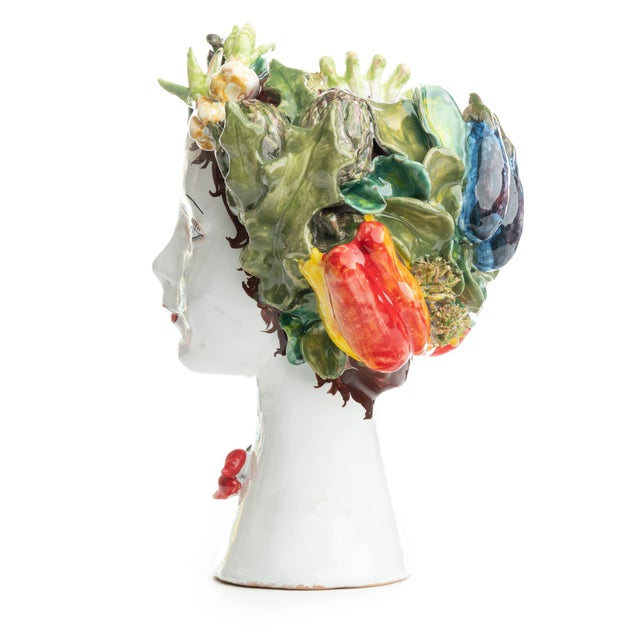 DESCRIPTION This d'arte ceramic sculpture with vegetables is hand crafted by Ivana Dolfi in Montelupo, Italy. These modern...