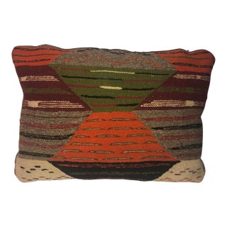 Vintage Tribal Wool Moroccan Kilim Cushion For Sale
