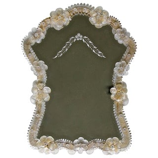 Italian Venetian Murano Floral Wall Mirror For Sale