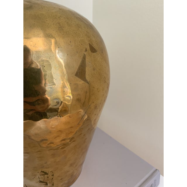 Late 20th Century Vintage Hammered Brass Vase For Sale - Image 5 of 7