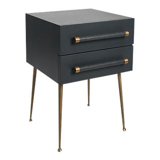 2-Drawer Nightstand with Wicker Pull For Sale