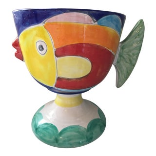 Vintage La Musa Large Hand Painted Pottery Fish Pedestal Planter/Bowl-Made in Italy For Sale