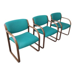 1980s Vintage Warren Snodgrass for Steelcase Sculptural Arm Chair- Set of 3 For Sale