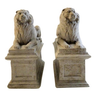 Vintage Concrete Lion Bookends - a Pair