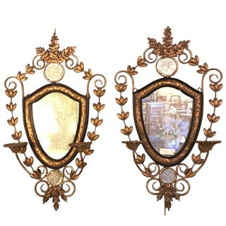 Metal Wall Candleholder Sconces with Mirror Back - A Pair For Sale