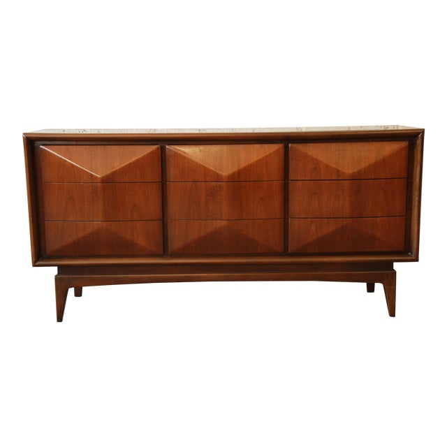United Furniture Mid-Century Modern Diamond Front Dresser - Image 1 of 8