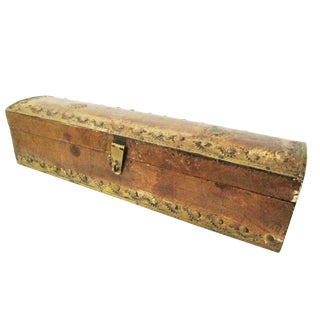 Burnished Wood & Brass Rectangular Box For Sale