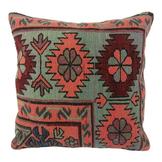 Turkish Decorative Vintage Sumaq Kilim Pillow For Sale