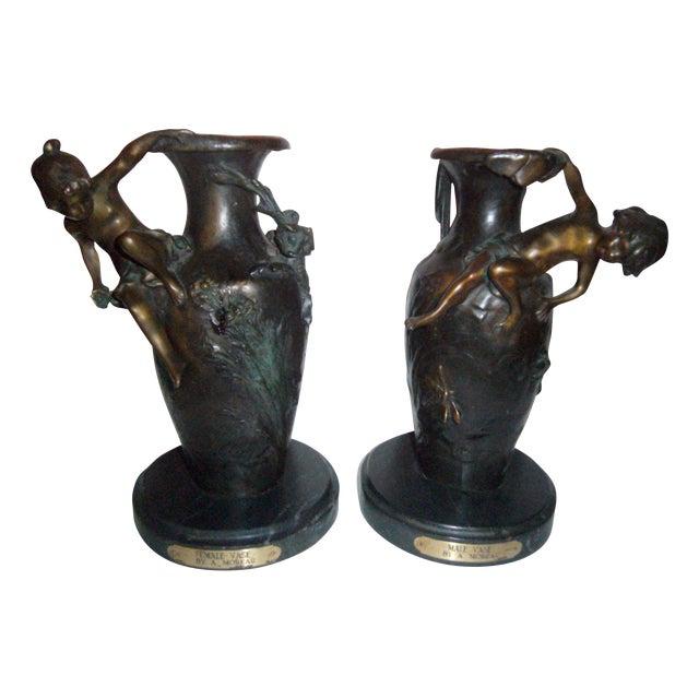 Auguste Moreau Bronze Vases - A Pair - Image 1 of 7