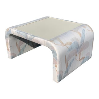 Floral Upholstered Waterfall Side Table For Sale