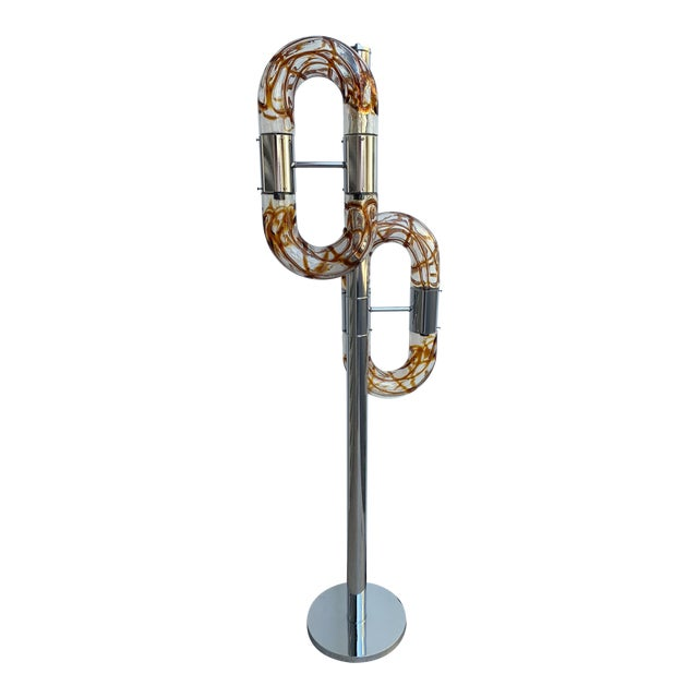Floor Lamp Metal Chrome Murano Glass by Aldo Nason for Mazzega, Italy, 1970s For Sale