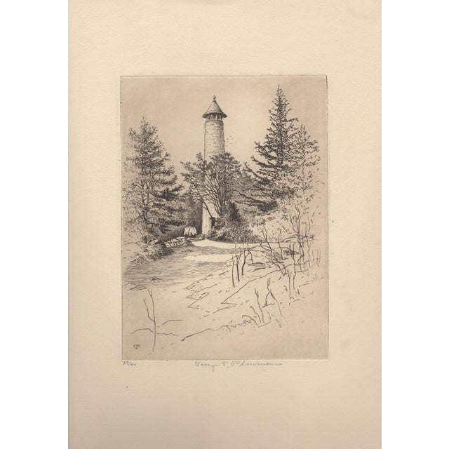 "Fine 1920's etching by listed artist George T. Plowman. It is titled ""The Tower"" - Dartmouth College, Hanover, NH. The..."