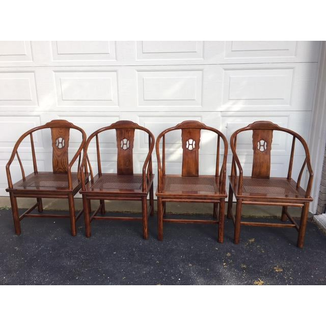 "Classic Henredon Asian inspired solid elm chairs with cane seats. Cane is perfect, pad have been removed. Seat height 17"",..."